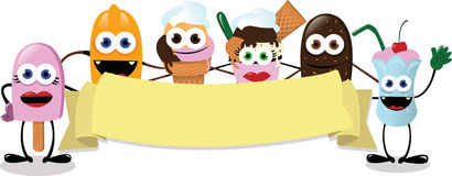 Funny Ice Cream Banner Royalty Free Stock Images