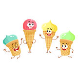 Funny ice cream characters, cones, popsicles with smiling human faces Stock Photo
