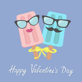 Funny ice cream couple with lips, mustaches and eyeglasses. Bow on sticks. Happy Valentines Day. Love card. Stock Photography
