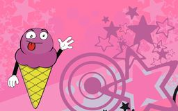 Funny ice cream expression catroon background Royalty Free Stock Photography