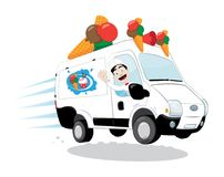Funny ice-cream van driven by a friendly ice-cream man cheering and smiling Stock Photo