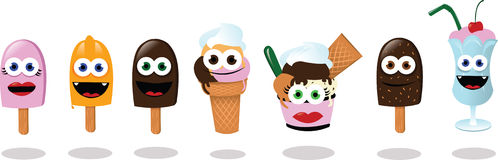 Funny Ice Creams Royalty Free Stock Images