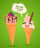 Funny ice creams poster, vector illustration. Stock Photos