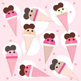 Funny ice creams vector background Royalty Free Stock Photo