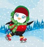 Funny Ice Skating Penguin Stock Photos