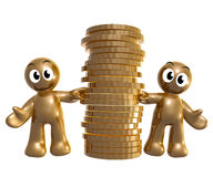 Funny icon couple with gold coins Royalty Free Stock Photos