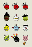 Funny icon faces Stock Images