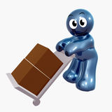 Funny icon figure with cargo box. 3d illustration Royalty Free Stock Photo