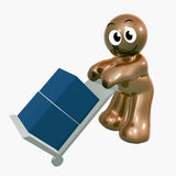 Funny icon figure with cargo box. 3d illustration Stock Photography