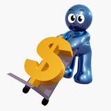 Funny icon figure with currency cargo box. Funny icon figure with currency cargo 3d illustration Royalty Free Stock Images
