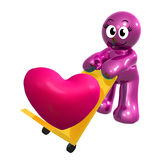 Funny icon figure with heart cargo Stock Photos