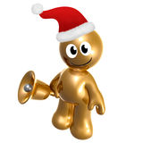 Funny icon figure with santa hat and bell. 3d illustration Royalty Free Stock Photo