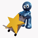 Funny icon figure with star cargo box. 3d illustration Stock Photo
