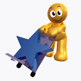 Funny icon figure with star cargo box. 3d illustration Royalty Free Stock Photography