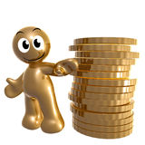 Funny icon with gold coins Royalty Free Stock Photos