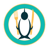Funny icon of a penguin on a plate Stock Images