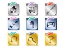 Funny icons. Condom-shaped Home, FAQ, Search, Download and more web icons Royalty Free Stock Images