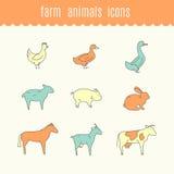 Funny icons of Farm animals. Royalty Free Stock Photos