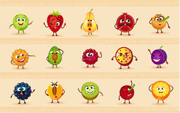 Funny icons of fruits. And berries Royalty Free Stock Photo