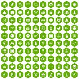 100 funny icons hexagon green. 100 funny icons set in green hexagon isolated vector illustration Royalty Free Stock Photos