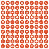 100 funny icons hexagon orange. 100 funny icons set in orange hexagon isolated vector illustration Royalty Free Stock Images