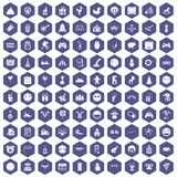 100 funny icons hexagon purple. 100 funny icons set in purple hexagon isolated vector illustration royalty free illustration