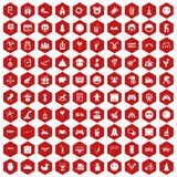 100 funny icons hexagon red. 100 funny icons set in red hexagon isolated vector illustration Stock Images