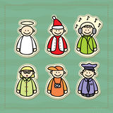 Funny icons of a policeman, a DJ, a teacher, a photographer, an angel and a little Santa Stock Photography