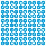 100 funny icons set blue. 100 funny icons set in blue hexagon isolated vector illustration Vector Illustration