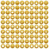 100 funny icons set gold. 100 funny icons set in gold circle isolated on white vectr illustration Royalty Free Stock Photography
