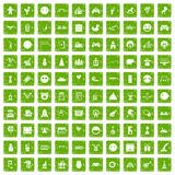 100 funny icons set grunge green. 100 funny icons set in grunge style green color isolated on white background vector illustration Royalty Free Stock Image