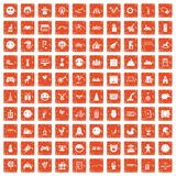 100 funny icons set grunge orange. 100 funny icons set in grunge style orange color isolated on white background vector illustration Stock Photo