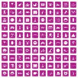 100 funny icons set grunge pink. 100 funny icons set in grunge style pink color isolated on white background vector illustration Stock Photo