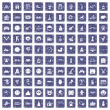 100 funny icons set grunge sapphire. 100 funny icons set in grunge style sapphire color isolated on white background vector illustration Royalty Free Stock Photo