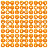 100 funny icons set orange. 100 funny icons set in orange circle isolated vector illustration Stock Photo
