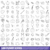 100 funny icons set, outline style. 100 funny icons set in outline style for any design vector illustration stock illustration