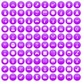 100 funny icons set purple. 100 funny icons set in purple circle isolated vector illustration Stock Images