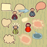 Funny icons set with speech bubbles.  Royalty Free Stock Photography