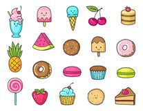 Funny icons of sweets, fruit and ice cream. Donuts, cupcakes, cakes and cookies Stock Photo
