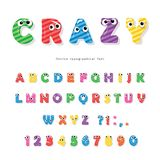 Funny kids font with eyes. Cartoon glossy colorful letters and numbers. vector illustration