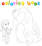 Funny ill dragon  on white. Coloring book for kids Stock Photos