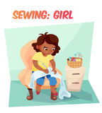 Funny illustration african american girl sewing Royalty Free Stock Photography