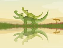 Funny illustration of alligators. On river stock illustration