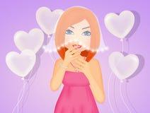 Illustration of Bachelorette girl. Funny illustration of bachelorette girl Royalty Free Stock Image