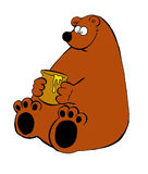 A funny illustration of a bear with a jarr of honey Stock Image
