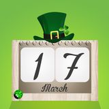 Calendar for St. Patricks day. Funny illustration of calendar for St. Patricks day calendar and hat Stock Image