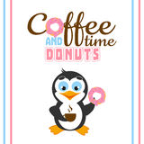 Funny illustration with cartoon penguin and text with coffee time and donuts. Royalty Free Stock Photography