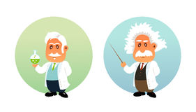 Funny illustration of Chemist and Mathematician. Funny flat illustration of Chemist and Mathematician stock illustration
