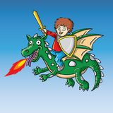 Funny  illustration of child as a knight on a flying drago Stock Photo