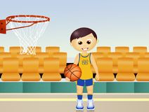 Illustration of child play basketball. Funny illustration of child play basketball Stock Photo